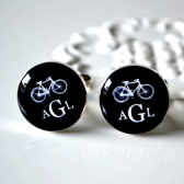 Bike and Monogram cufflinks