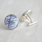Sterling silver custom vintage map cufflinks