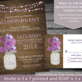 Mason Jar and Purple Florals Rustic Wedding Invitations