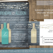 Vineyard Wine Bottle Wedding Invitations