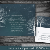 Starry Night Winter wedding Invitations