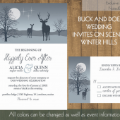 Buck and Doe Winter Winter Wedding Invitations