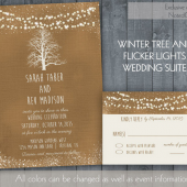 Rustic Winter Wedding Invitations for Rustic Winter Weddings | Kraft paper flicker lights | Oak Tree Wedding Tree Silhouette Digital Files