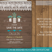 Rustic Mason Jar Save the Date Cards - Mason jar and 2015 Wedding Colors Flowers | Rustic mason jar Lace woodgrain Printable Save the Date