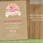 Peony Bridal Shower Invitations - Rustic Pink and Lime Peony Bouquet Bridal Shower | Wedding Shower Invite | Bridal Shower | on Kraft Paper