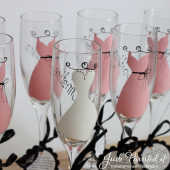 Pink Bridesmaid champagne flutes