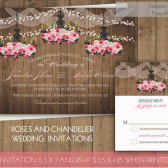 Rustic Wedding Invitations with Roses in Chandeliers