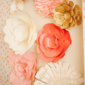 Coral and Ivory Paper Flower Decor