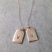 Double Date and Initial Tag necklace
