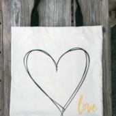 Canvas tote with gold accent