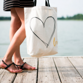 Canvas Heart Tote/Bag