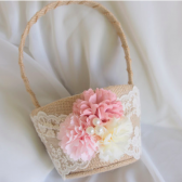 Rustic Wedding Burlap Flower Basket, Pink, Lace, Fabric Peonies