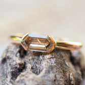 Hexagon Diamond Bullet Ring in Rose Gold
