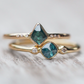 Custom Blue Hexagon Diamond Engagement Ring by Gardens of the Sun