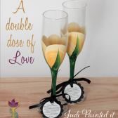 Rose bud champagne flutes by Judi Painted it