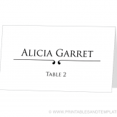 Place Card Template - Scroll Design