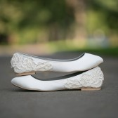 Ivory Ballet Flats with Ivory Lace