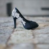 Navy Wedding Shoes with Ivory Lace