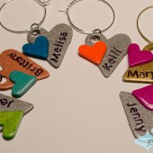 Personalized Double Heart Wine Charm