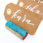Aqua Glitter Place Card Holders