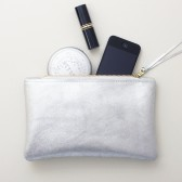Silver Leather Clutch