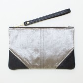 Large Metallic Silver Silk and Leather Wristlet