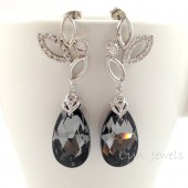 Dark Grey Swarovski Crystal Earrings