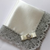 Wedding Hanky, Bride, Mother of Bride/Groom Gift, White or Ivory Bridal Satin Handkerchief w/ Silver Lace & Flower Rhinestone