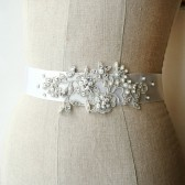 Silver Lace Beaded Sash