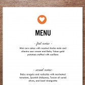 Simple Heart Printable Wedding Menu