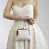 White Wedding Clutch with Venetian Lace