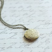Antique Brass Round Locket - Bridesmaid Locket, Flowergirl Locket