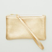 Small Metallic Gold Leather Zipper Wristlet