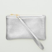Small Metallic Silver Leather Zipper Wristlet