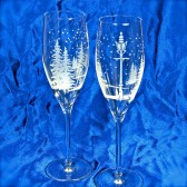 Fine Crystal Champagne Flutes for Winter Wedding