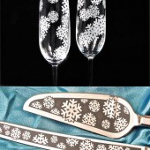 Snowflake Wedding Cake Server and Knife set, Champagne Glasses