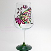 Social Butterfly Hand Painted Wine Glass
