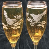 Personalized Lovebird Champagne flutes