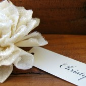 Sparkling Wooden Cream Place Cards