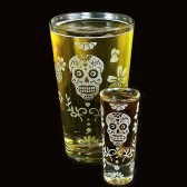 Dia De Los Muertos beer glass pint glass duo