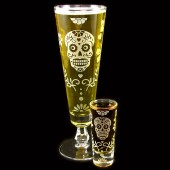 Dia De Los Muertos beer glass shot glass duo
