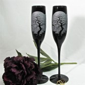 Spooky Trees Enchanted Forest Champagne Flutes