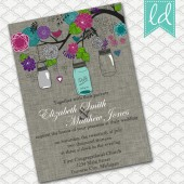Spring Mason Jars Wedding Invitation