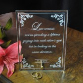 Engraved Glass Marriage Plaque, Gift for Couple, Engagement Gift