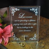 Wedding present for couple, glass plaque