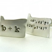 State of Love - Latitude Longitude Personalized State Shaped Cuff Links