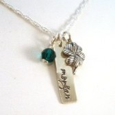 Sterling Silver Shamrock & Name Charm Necklace