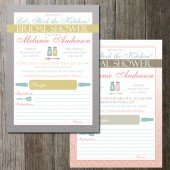 Recipe Bridal Shower Stock the Kitchen Invitation with recipe cards