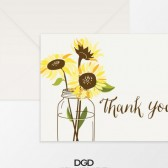 Sunflower Thank You Folded Note Card