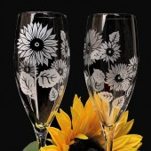 Sunflower Wedding Champagne Flutes